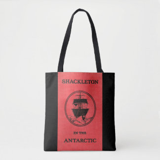 Shackleton in Antarctic Cover with Shack on Back Tote Bag