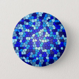 Shades of Blue Stained Glass by Shirley Taylor 6 Cm Round Badge