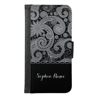 Shades of Gray Paisley and Chain Samsung Galaxy S6 Wallet Case