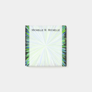 Shades of Green/Blue Line Burst Pattern + Name Post-it Notes