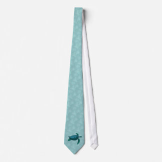 Shades of green-blue sea turtle tie