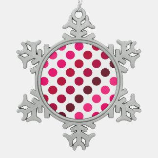 Shades of Red Polka Dot Stripes Snowflake Pewter Christmas Ornament