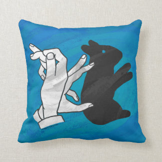 Shadow Rabbit On Blue Throw Pillow