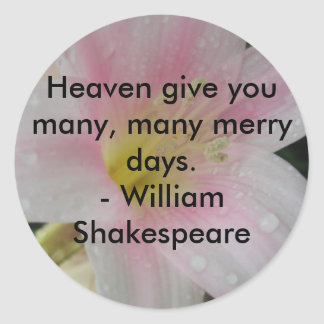 Shakespeare Pink Orchid Quote Classic Round Sticker