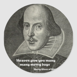 SHAKESPEARE PORTRAIT WITH QUOTE CLASSIC ROUND STICKER