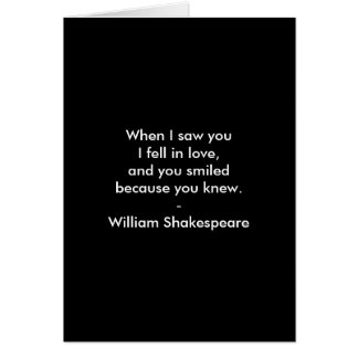 Shakespeare Quote - I Fell In Love Card