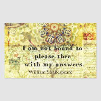 Shakespeare Quote Rectangular Sticker