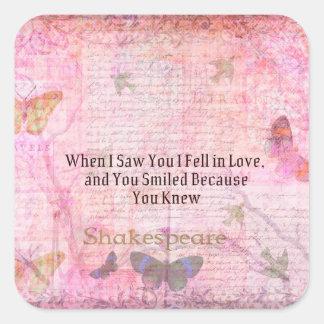Shakespeare Romantic Love quote art typography Square Sticker