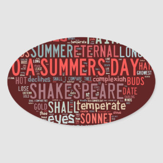 Shakespeare Sonnet Oval Sticker