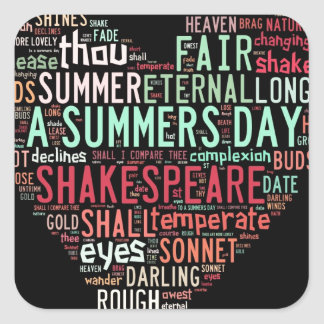 Shakespeare Sonnet Square Sticker