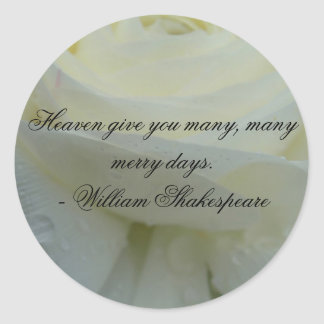 Shakespeare White Rose Quote Classic Round Sticker