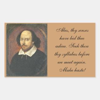 Shakespearean Syllabus Reminder Rectangular Sticker