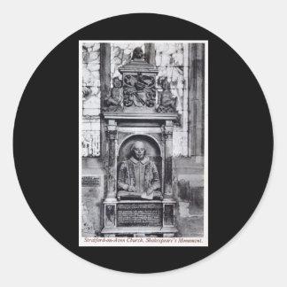 Shakespeare's Monument, Stratford-on-Avon Church V Classic Round Sticker