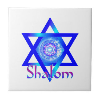 Shalom and Blue Star of David Tile