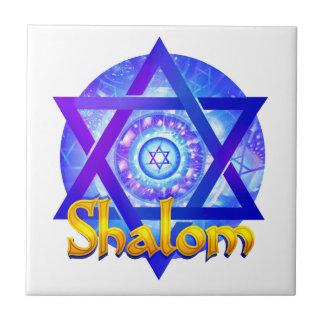 SHALOM with Star of David Medallion Tile