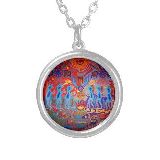 Shaman Ritual Huichol Silver Plated Necklace