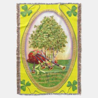 Shamrock Bagpipes Gold Green Throw Blanket