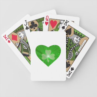 Shamrock Heart White playing cards