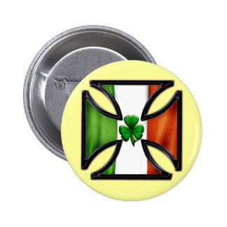 Shamrock Irish Flag Iron Cross 6 Cm Round Badge