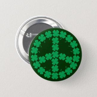 Shamrock Peace Symbol 6 Cm Round Badge