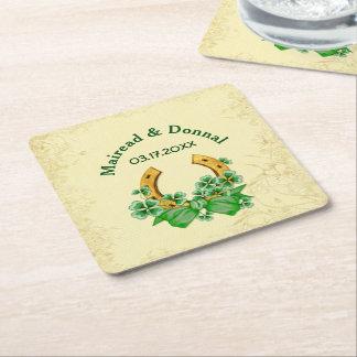 Shamrocks and Gold Irish Wedding - Customize Square Paper Coaster