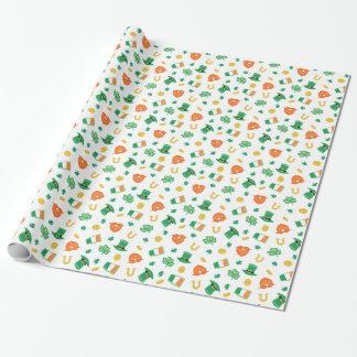 Shamrocks & Hats - St Patrick's Day Pattern Wrapping Paper
