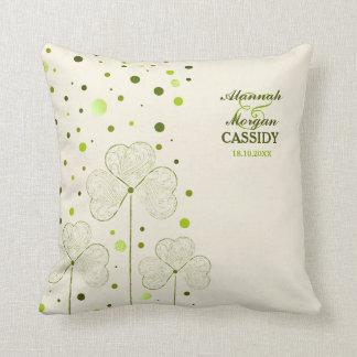Shamrocks Polka Dots - Customize Throw Pillow