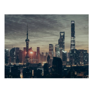 Shanghai Night Skyline Postcard