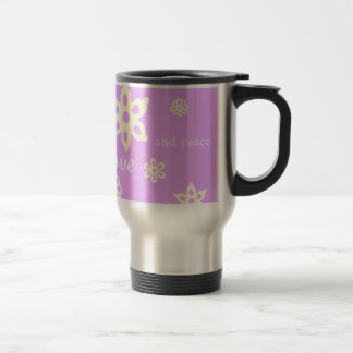 Share the love and peace purple floral pattern stainless steel travel mug