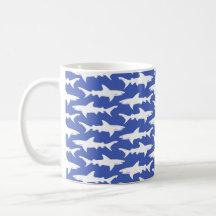Shark Attack - Blue and White Mugs
