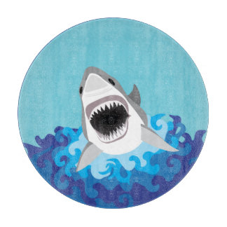Shark Attack - Hungry at the Beach House Cutting Board