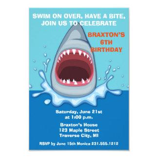 Shark Birthday Party Invitaitons 9 Cm X 13 Cm Invitation Card