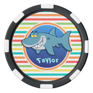 Shark; Bright Rainbow Stripes Poker Chips Set