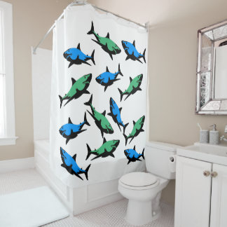 Shark Frenzy Shower Curtain