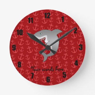 Shark red anchors pattern clocks