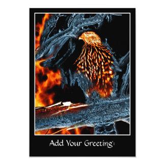 Sharp Shinned Hawk Fire and Ice. (0112) 13 Cm X 18 Cm Invitation Card