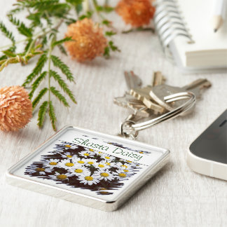 Shasta Daisies Photograph Silver-Colored Square Key Ring