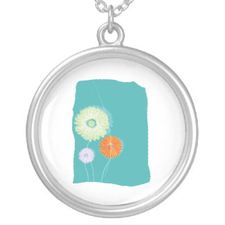 Shasta daisy graphics on blue background.png round pendant necklace