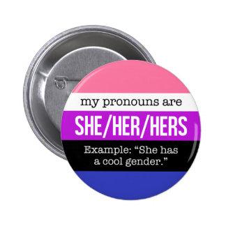 She/Her Pronouns –Genderfluid Flag 6 Cm Round Badge