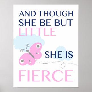 She is Fierce - Pink Butterfly - Poster