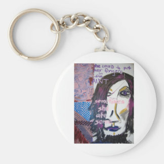She Loved to Put Her Fingers in the Paint, 2004 Basic Round Button Key Ring