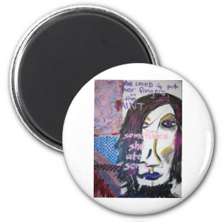 She Loved to Put Her Fingers in the Paint, 2004 6 Cm Round Magnet