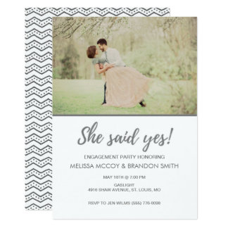 She Said Yes Photo Engagement Party Card