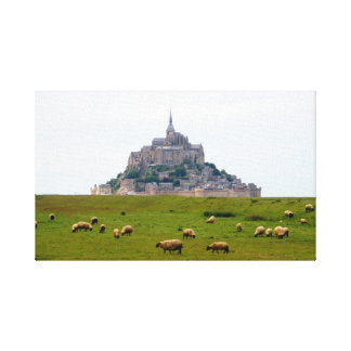 Sheep Grazing at Mont St Michel Canvas Print