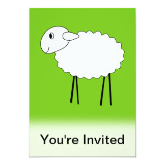 Sheep on Green Background. Card