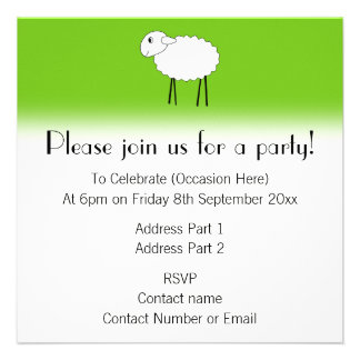 Sheep on Green Background. Custom Invites