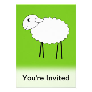 Sheep on Green Background. Announcement