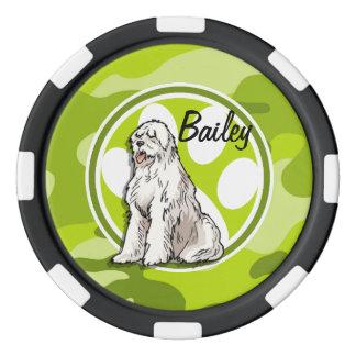 Sheepdog; bright green camo, camouflage poker chip set