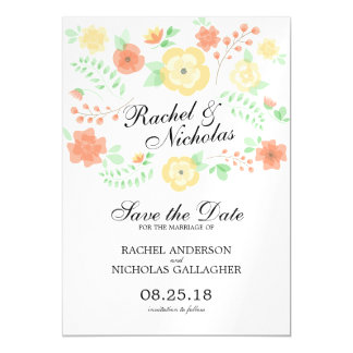 Sheer Summer Flowers | Save the Date Magnetic Card