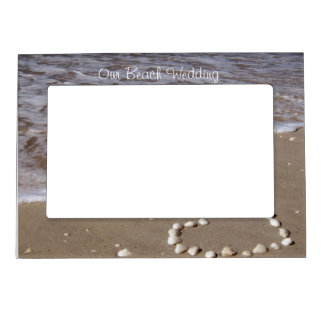 Shell Heart on Sand Beach Picture Frame Magnet